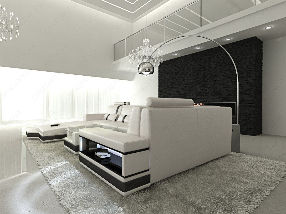 ledersofa messana designersofa mit beleuchtung weiss sofa ebay. Black Bedroom Furniture Sets. Home Design Ideas