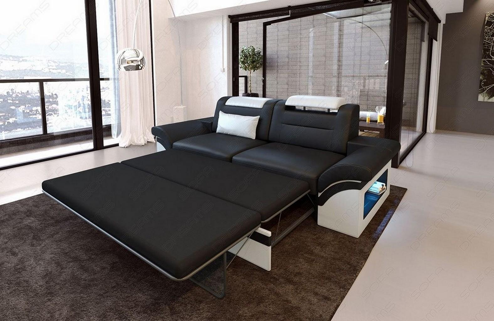 2 Sitzer Sofa Leder Zweisitzer MONZA Couch LED Beleuchtung