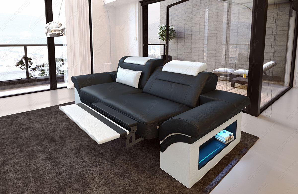 2 seat sofa leather monza two seater design couch led lighting bed function ebay. Black Bedroom Furniture Sets. Home Design Ideas