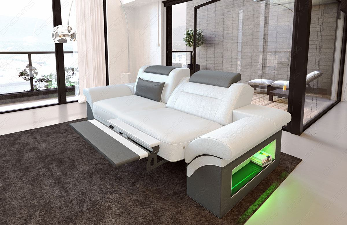 2 Seater Leather Sofa CHICAGO LED Sectional Sofa Design Recliner ...