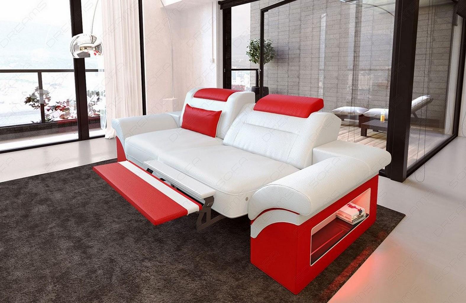 2 Sitzer Leder Sofa MONZA Zweisitzer Design Couch + LED Beleuchtung ...