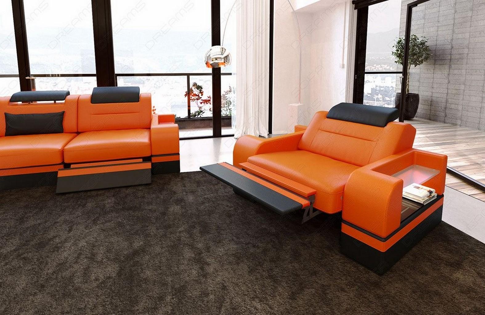 luxus sofagarnitur 3 2 1 couchgarnitur echtleder parma design led beleuchtung ebay. Black Bedroom Furniture Sets. Home Design Ideas