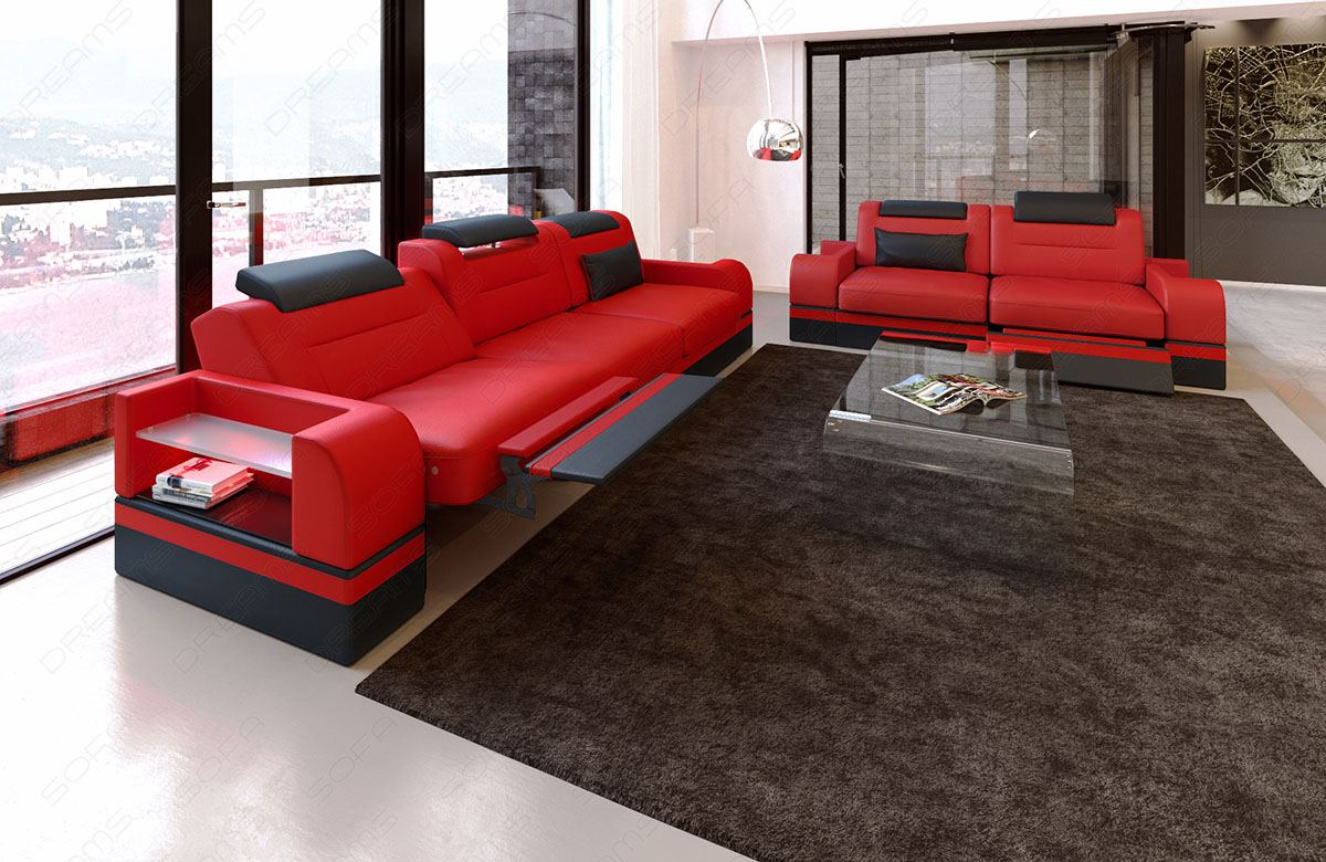 ledersofa garnitur parma 3er 2er 1er in rot schwarz mit led designer 3erset ebay. Black Bedroom Furniture Sets. Home Design Ideas