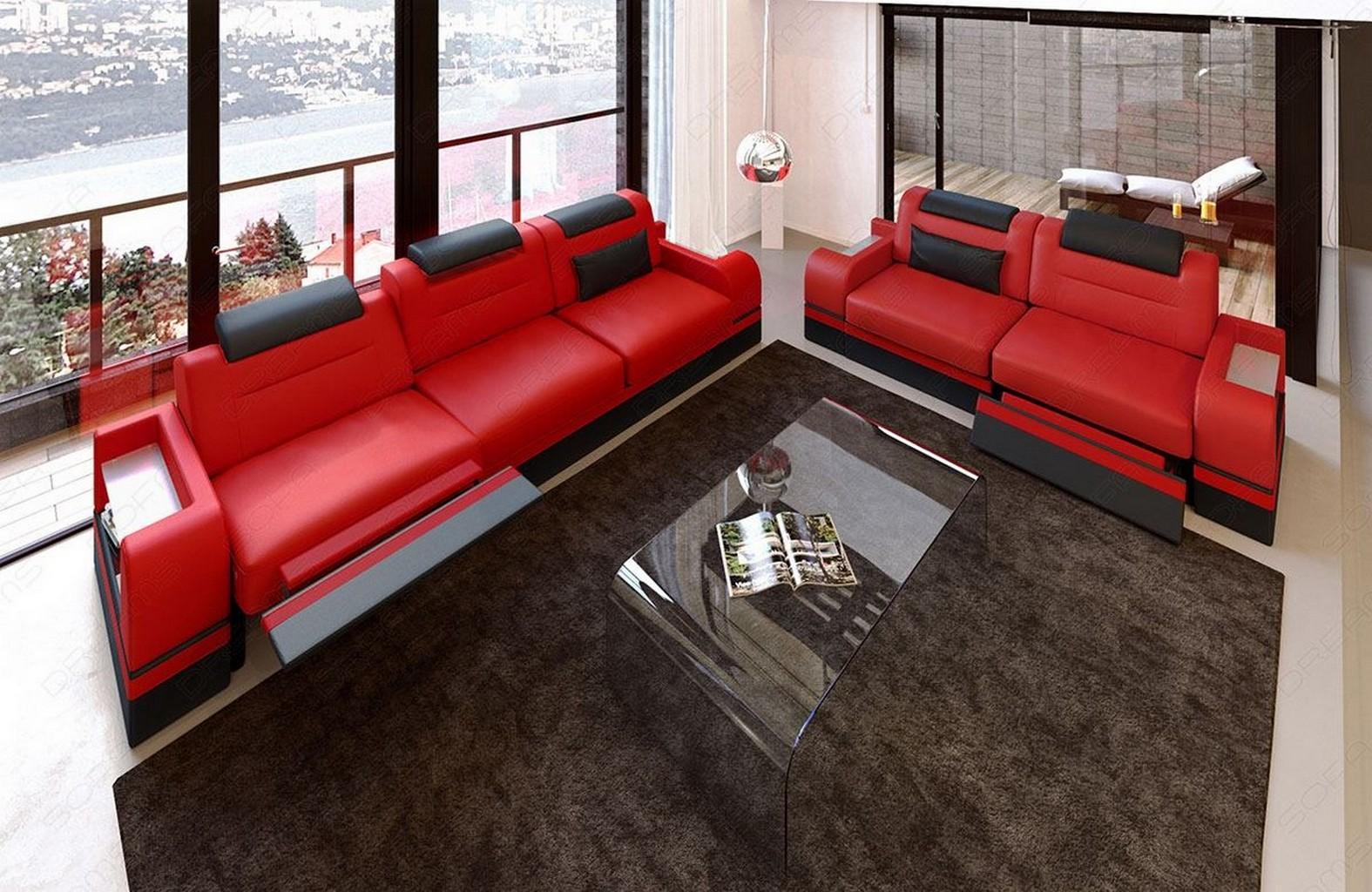 ledersofa garnitur parma 3er 2er 1er in rot schwarz. Black Bedroom Furniture Sets. Home Design Ideas
