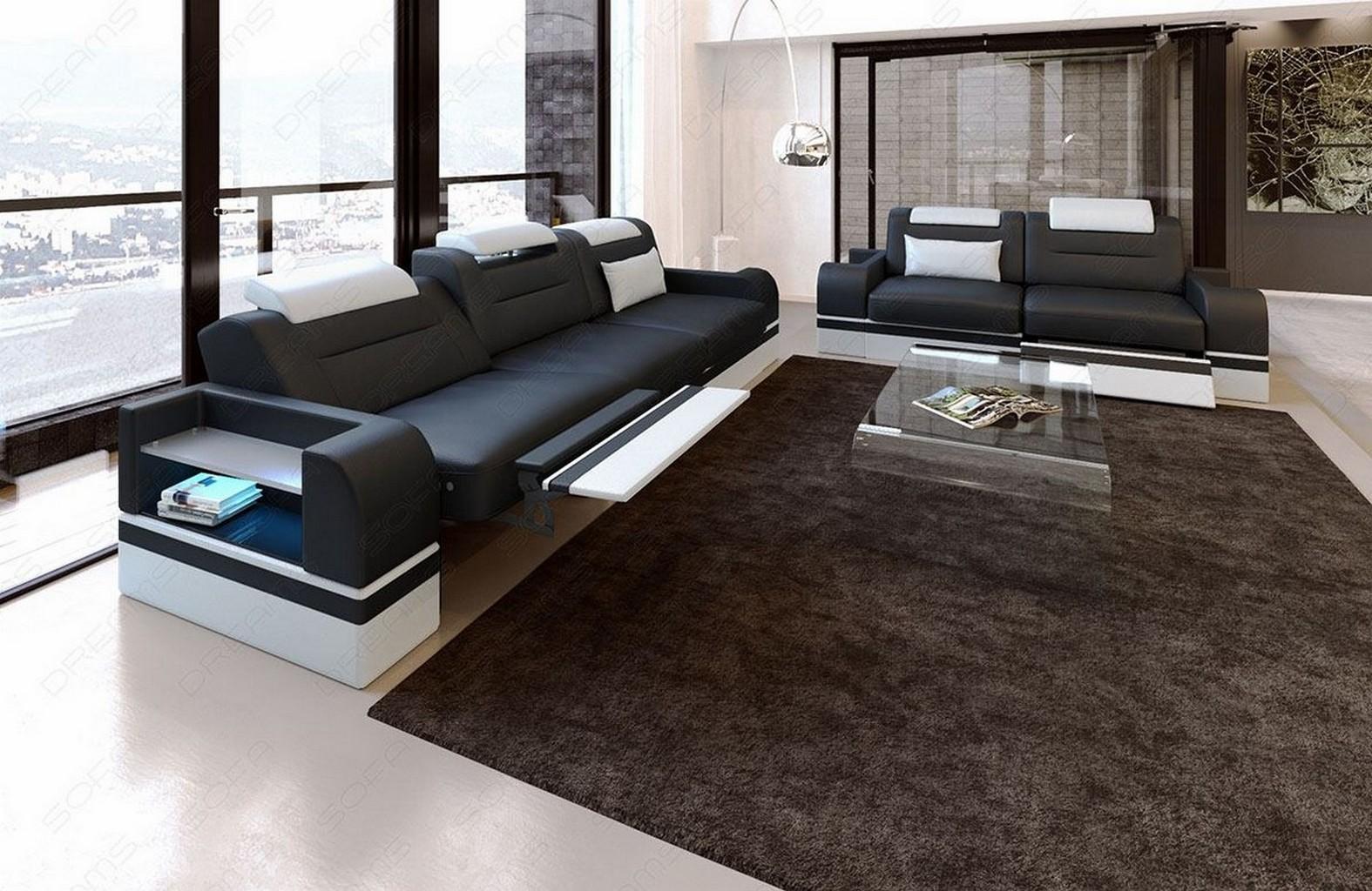 couchgarnitur sofagarnitur sitzgruppe design leder parma led 3 sitzer 2 sitzer ebay. Black Bedroom Furniture Sets. Home Design Ideas