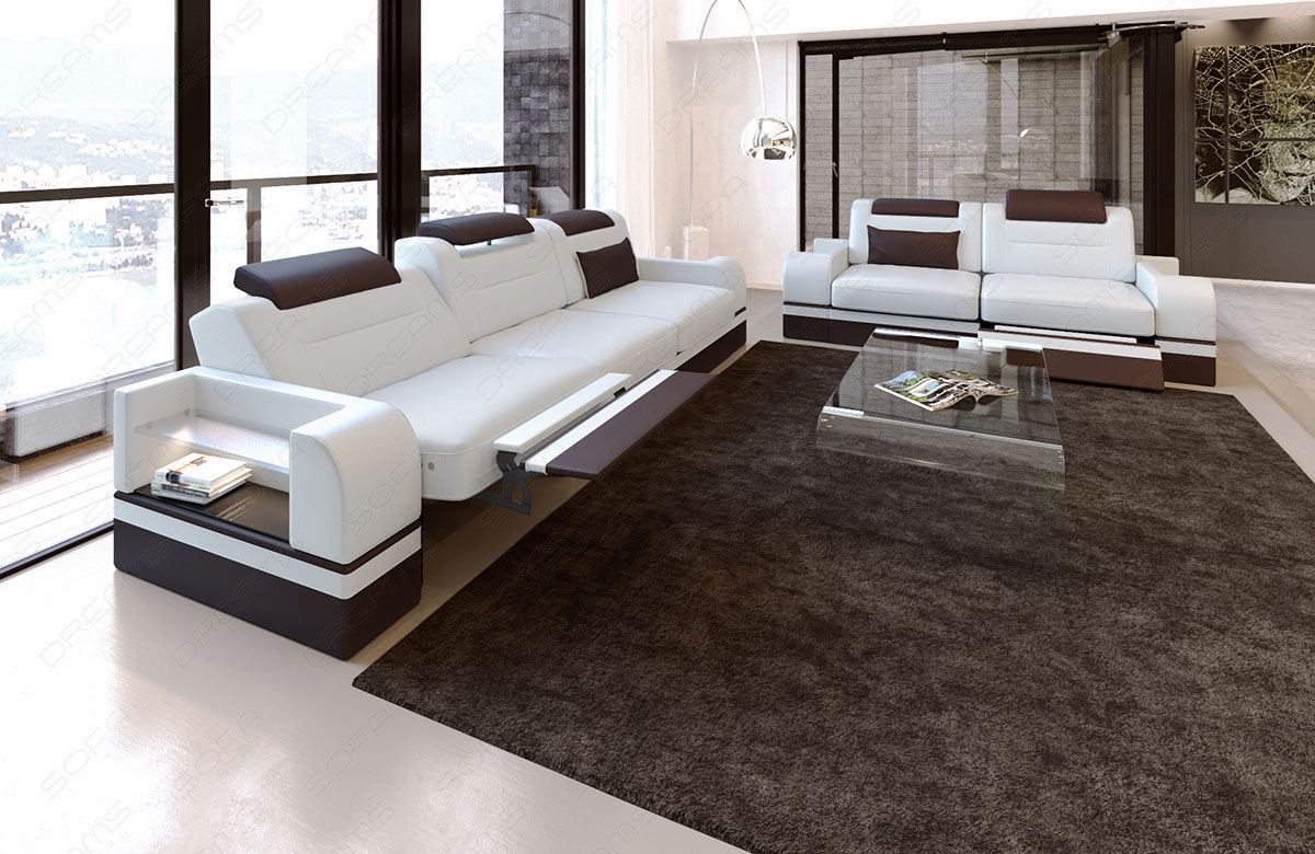 couch garnitur parma 3er 2er sessel sofagarnitur sitzgruppe ledersofa sofa weiss ebay. Black Bedroom Furniture Sets. Home Design Ideas