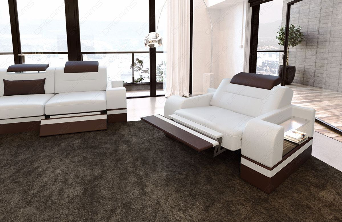 sofa parma 3er 2er armchair sofa set seating leather sofa sofa white ebay. Black Bedroom Furniture Sets. Home Design Ideas