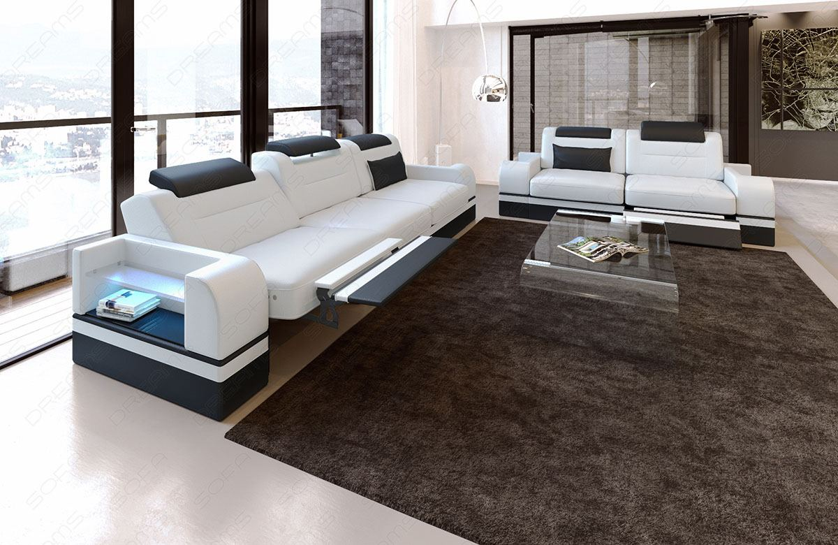 couchgarnitur sofagarnitur sitzgruppe design leder parma led 3 sitzer 2 sitzer ebay. Black Bedroom Furniture Sets. Home Design Ideas