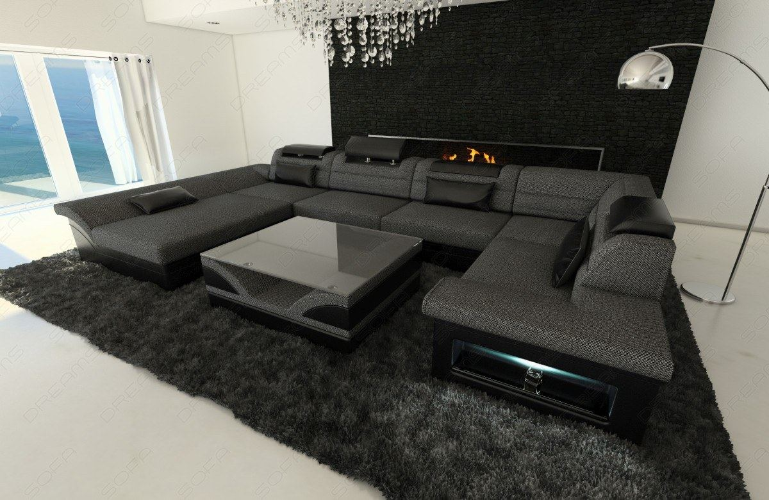 Interior Design New Look Fabric Enzo U Shaped Fabric Sofa With Led In Dark Grey Ebay