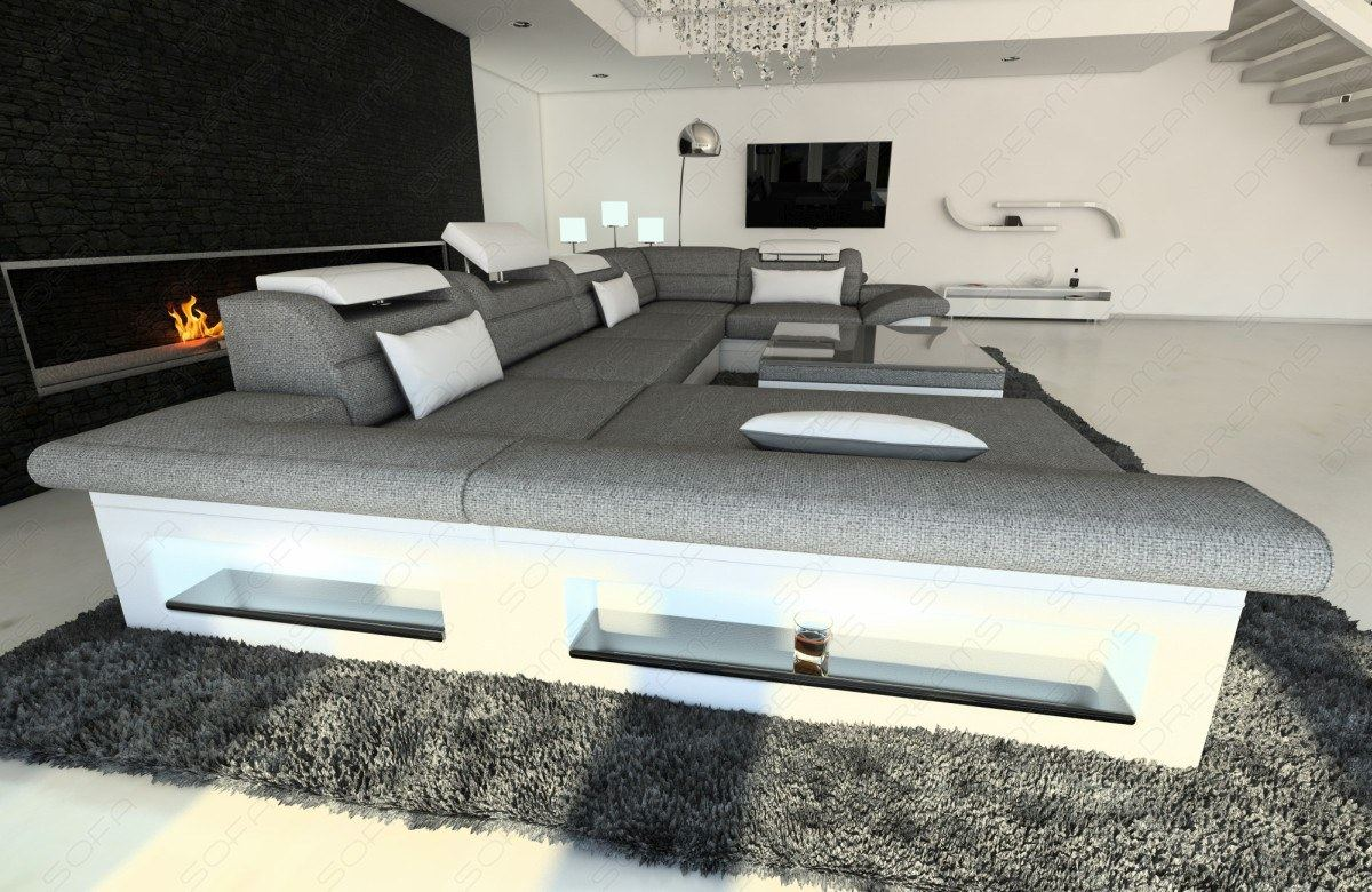 interior design new look fabric enzo u shaped fabric sofa. Black Bedroom Furniture Sets. Home Design Ideas