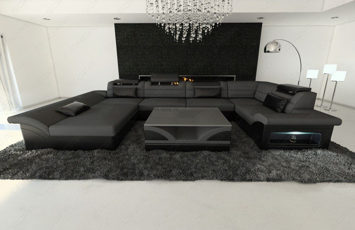 new look stoff wohnlandschaft enzo u form stoffcouch mit led materialmix ebay. Black Bedroom Furniture Sets. Home Design Ideas