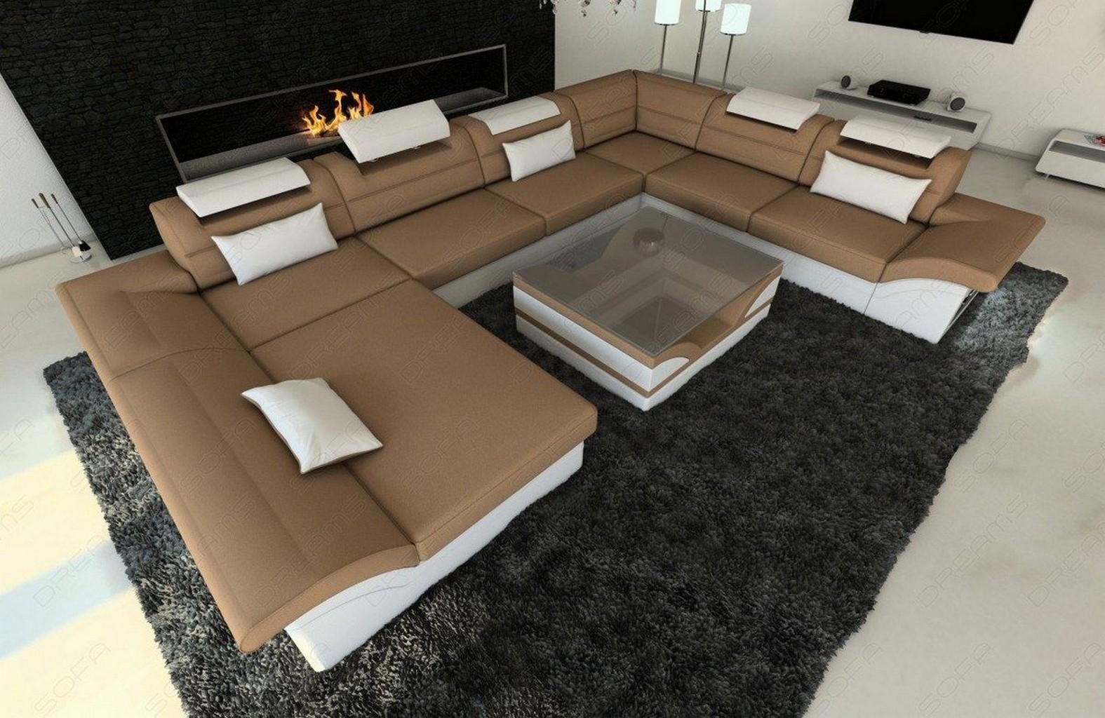 Stoffcouch big sofa xxl design wohnlandschaft couchgarnitur enzo led beleuchtung ebay - Couchgarnitur xxl ...
