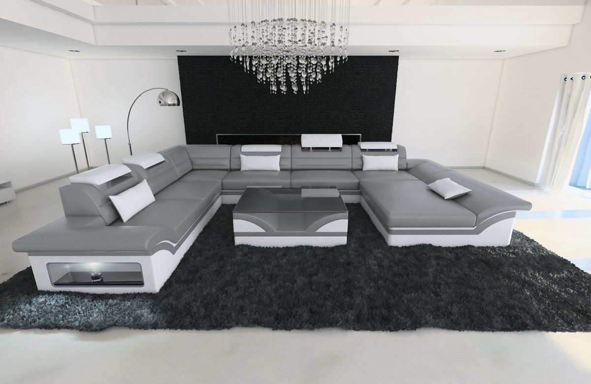 echtleder sofa enzo xxl in grau wei mit led und. Black Bedroom Furniture Sets. Home Design Ideas