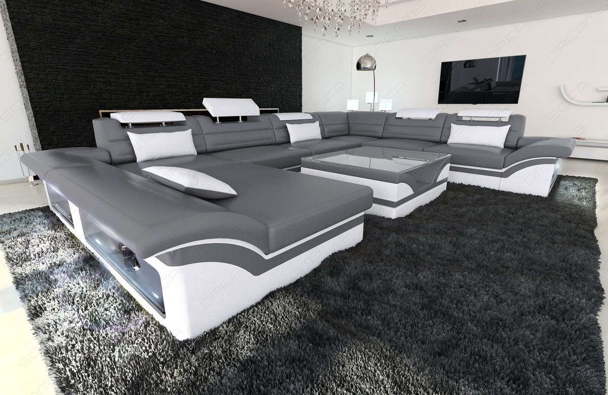 mega wohnlandschaft enzo xxl mit led beleuchtung grau schlaffunktion ebay. Black Bedroom Furniture Sets. Home Design Ideas