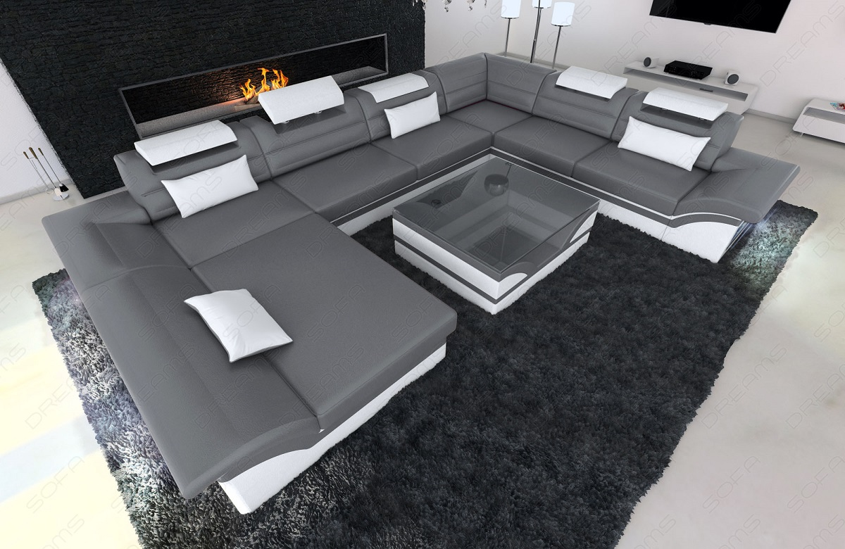 leather sectional sofa enzo xxl grey white ebay. Black Bedroom Furniture Sets. Home Design Ideas