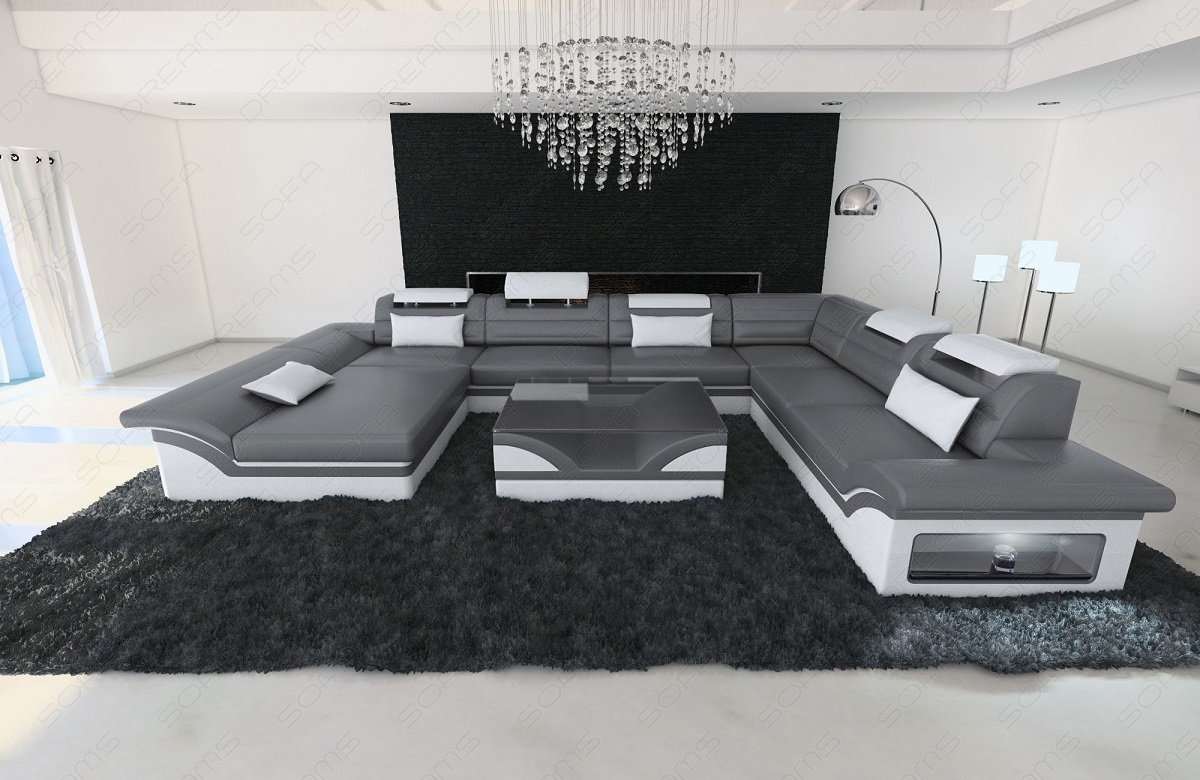 sofaecke designer wohnlandschaft enzo xxl grau weiss mit. Black Bedroom Furniture Sets. Home Design Ideas