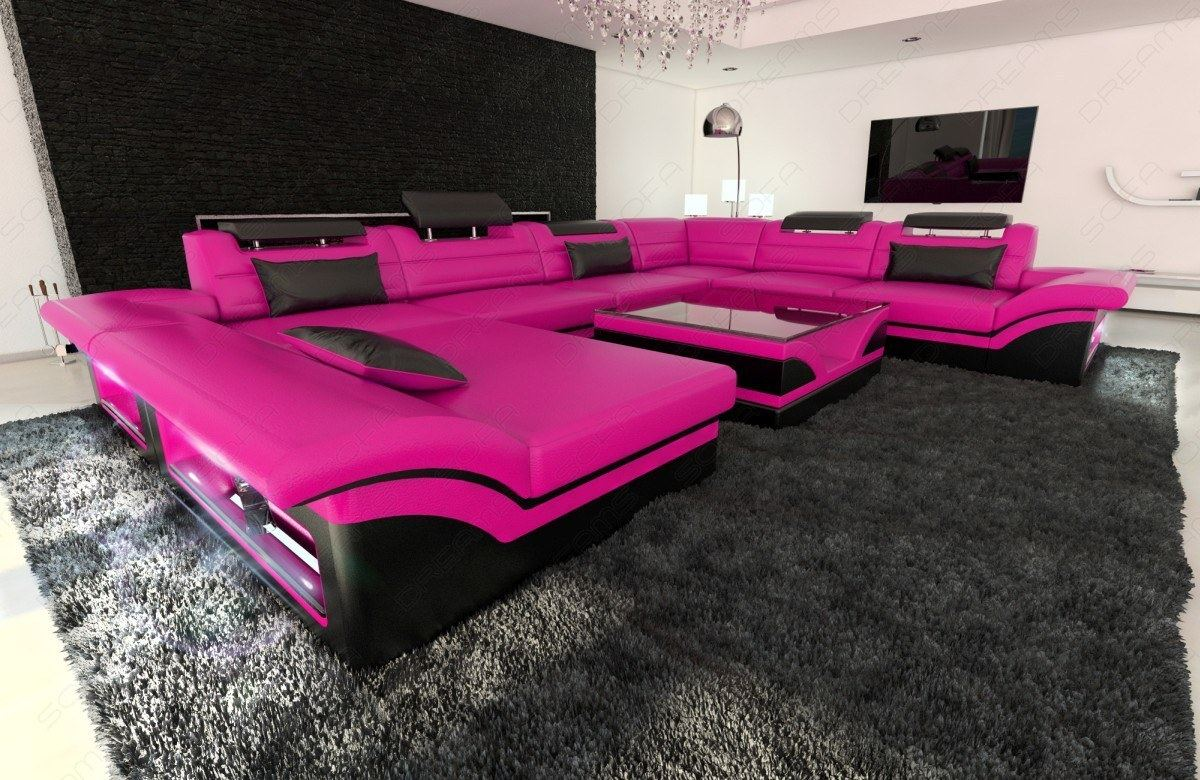 Leather sectional sofa enzo xxl pink black sofas for Wohnlandschaft schwarz