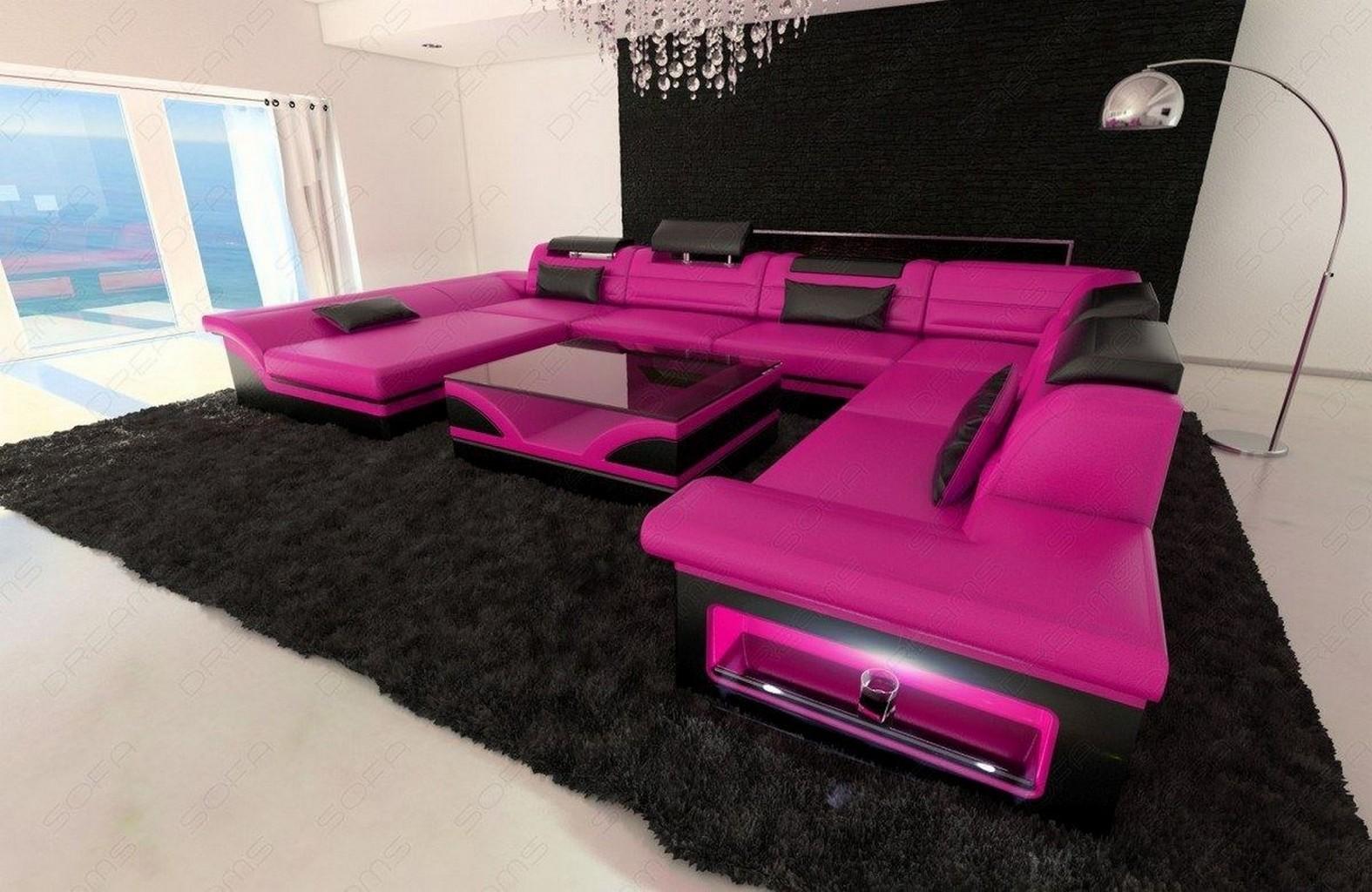 Leather Sectional Sofa ENZO XXL Pink Black EBay