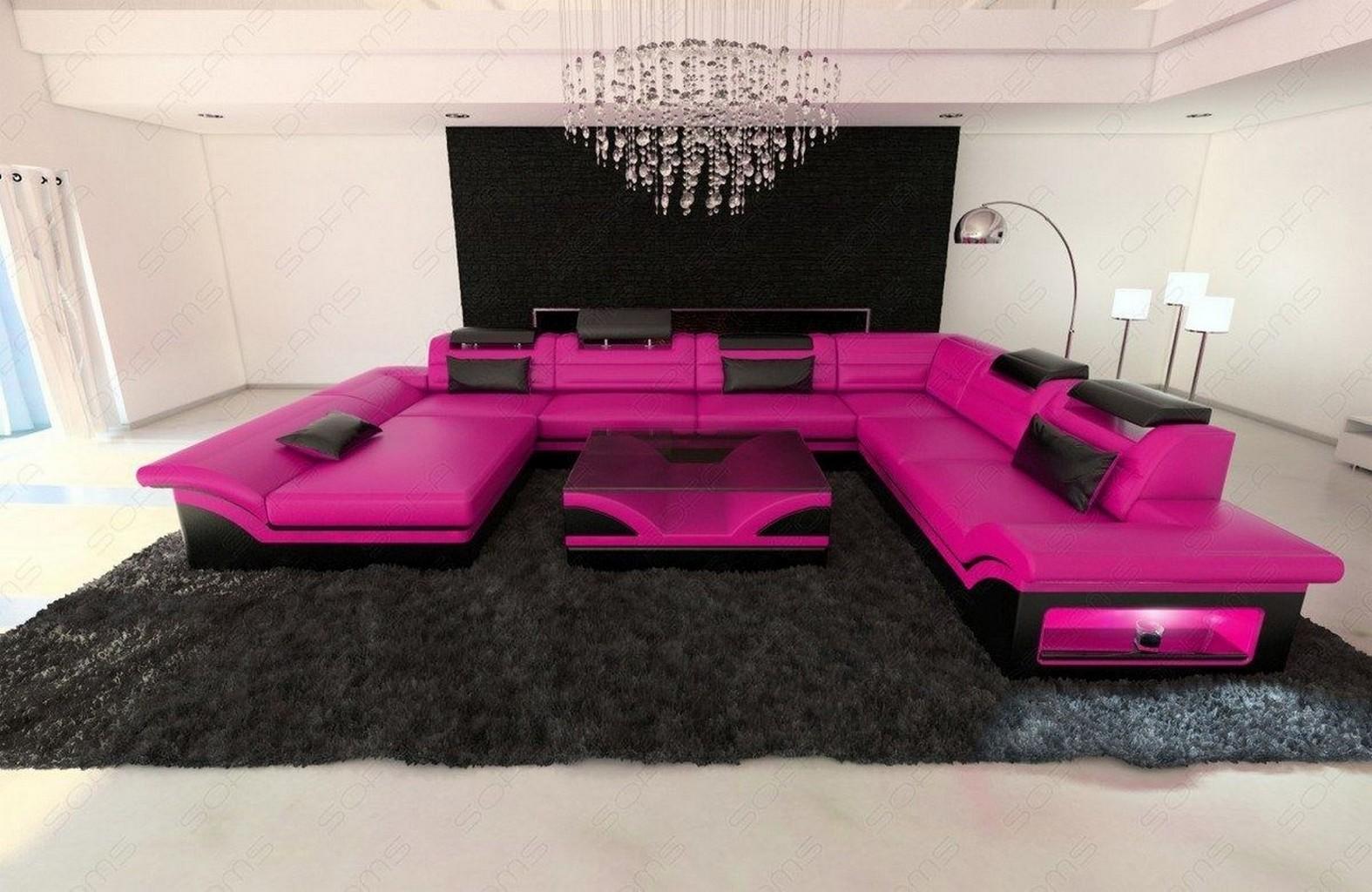 leather sectional sofa enzo xxl pink black ebay. Black Bedroom Furniture Sets. Home Design Ideas
