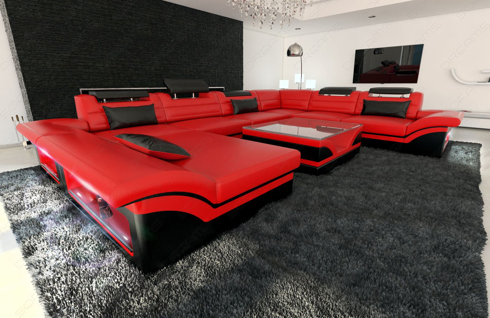 Leather Sectional Sofa Enzo Xxl Red Black Ebay