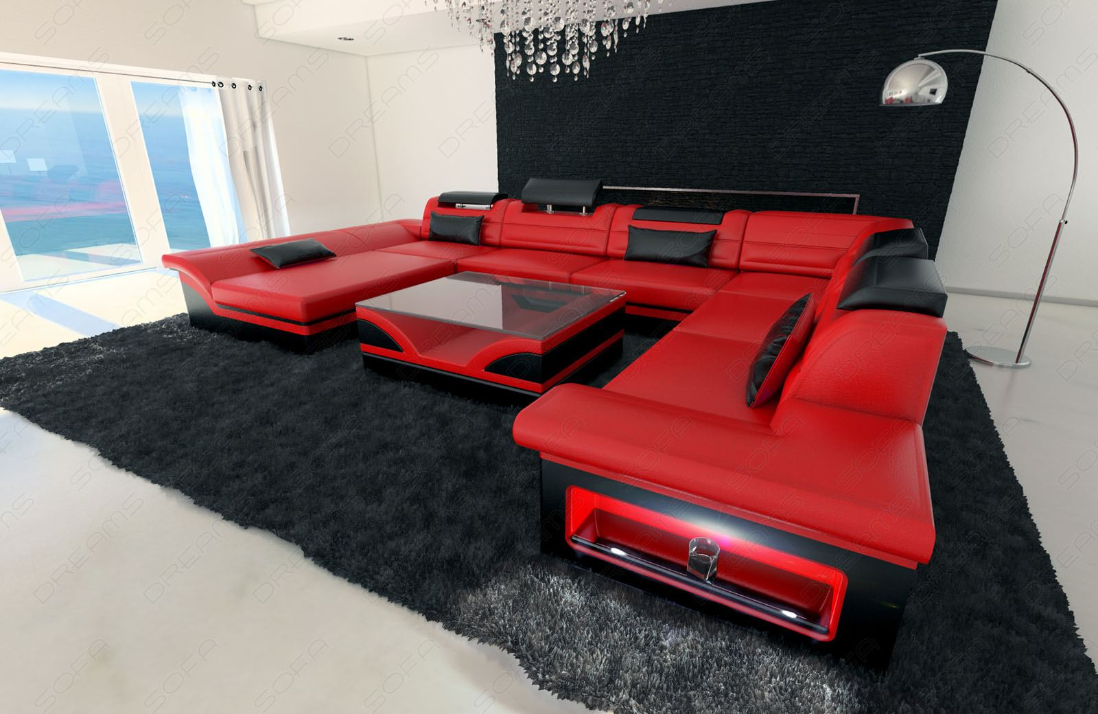big sectional sofa enzo xxl leather couch with led lights colour selection ebay. Black Bedroom Furniture Sets. Home Design Ideas