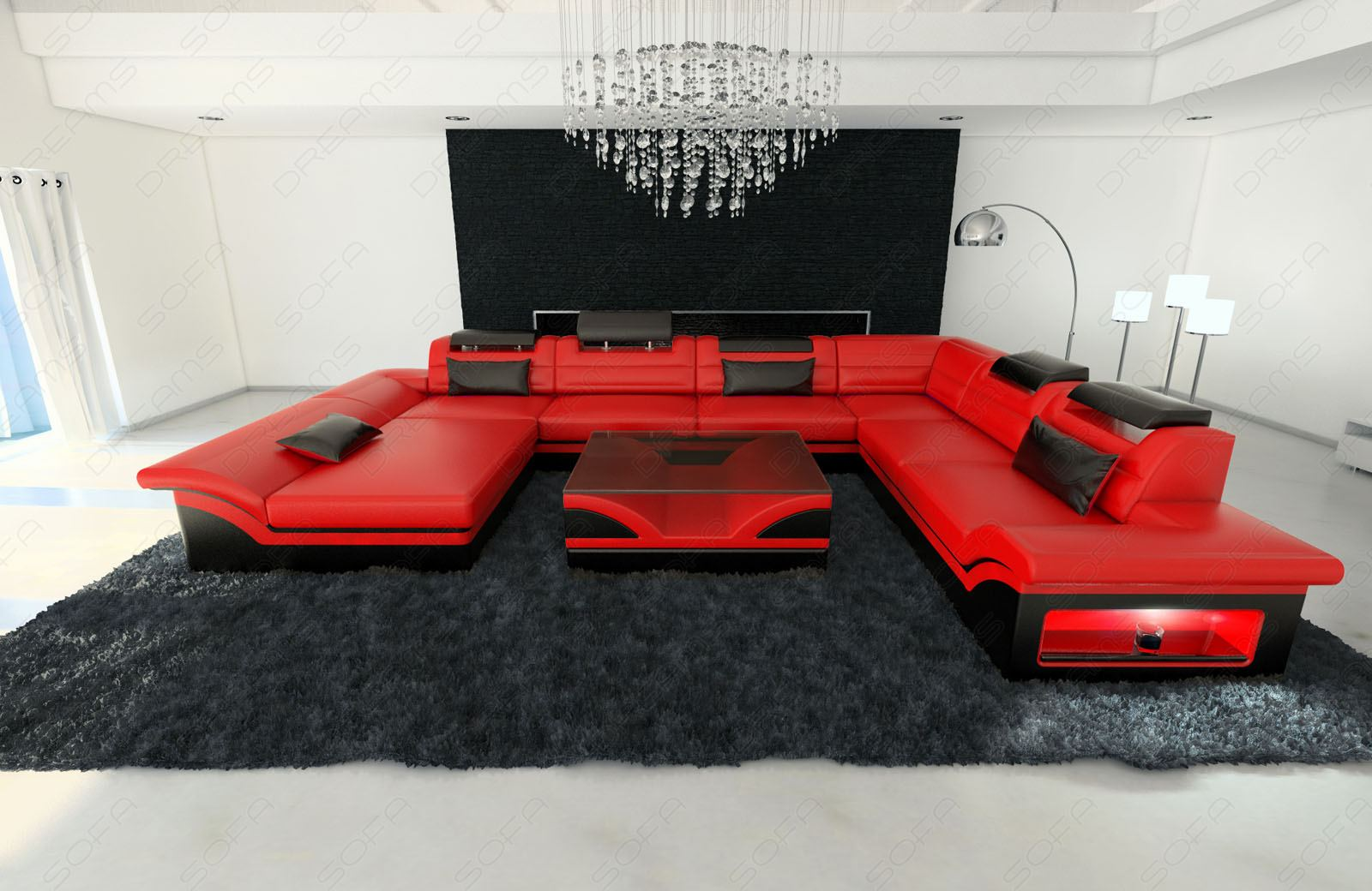 echtleder design wohnlandschaft enzo xxl ottomane led beleuchtung rot schwarz ebay. Black Bedroom Furniture Sets. Home Design Ideas
