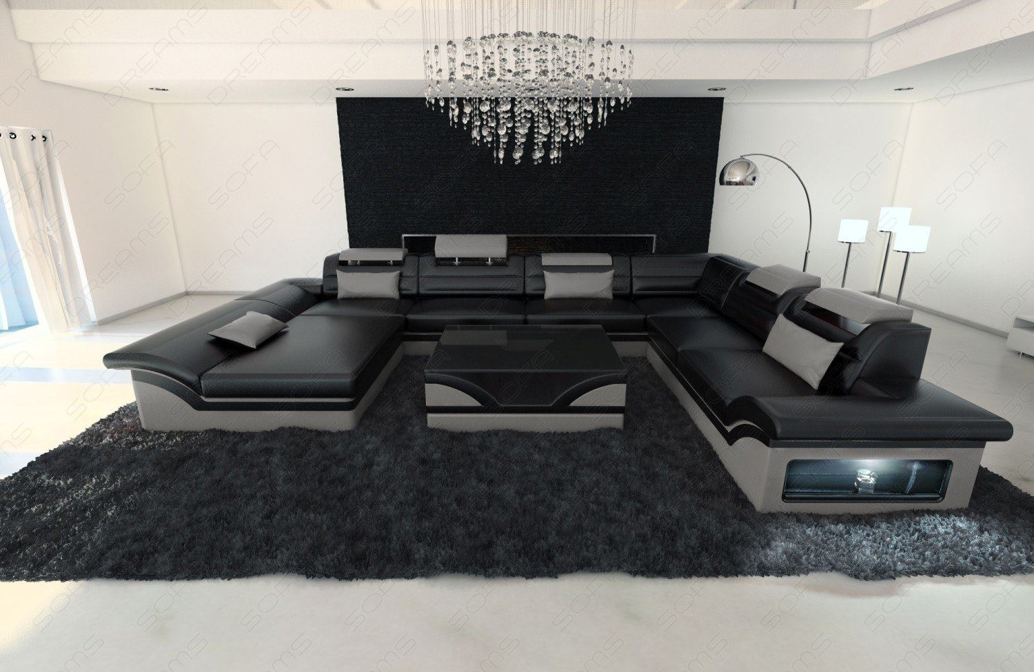 leather sectional sofa enzo xxl black grey ebay. Black Bedroom Furniture Sets. Home Design Ideas