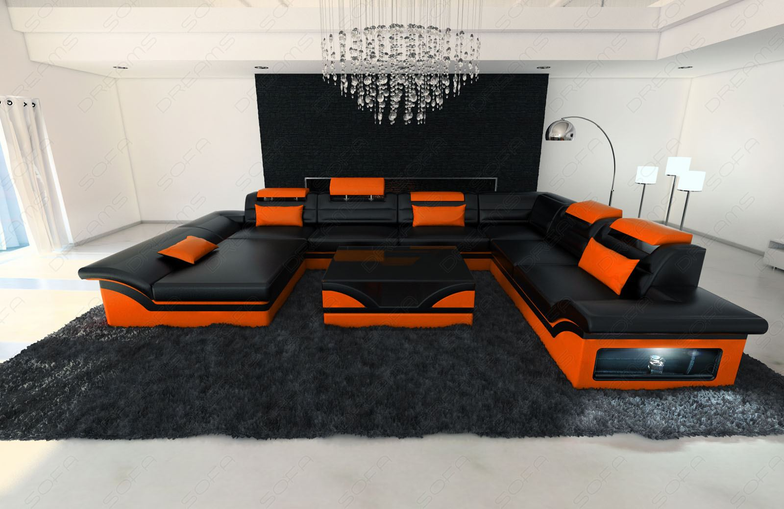 leather sectional sofa enzo xxl black orange ebay. Black Bedroom Furniture Sets. Home Design Ideas