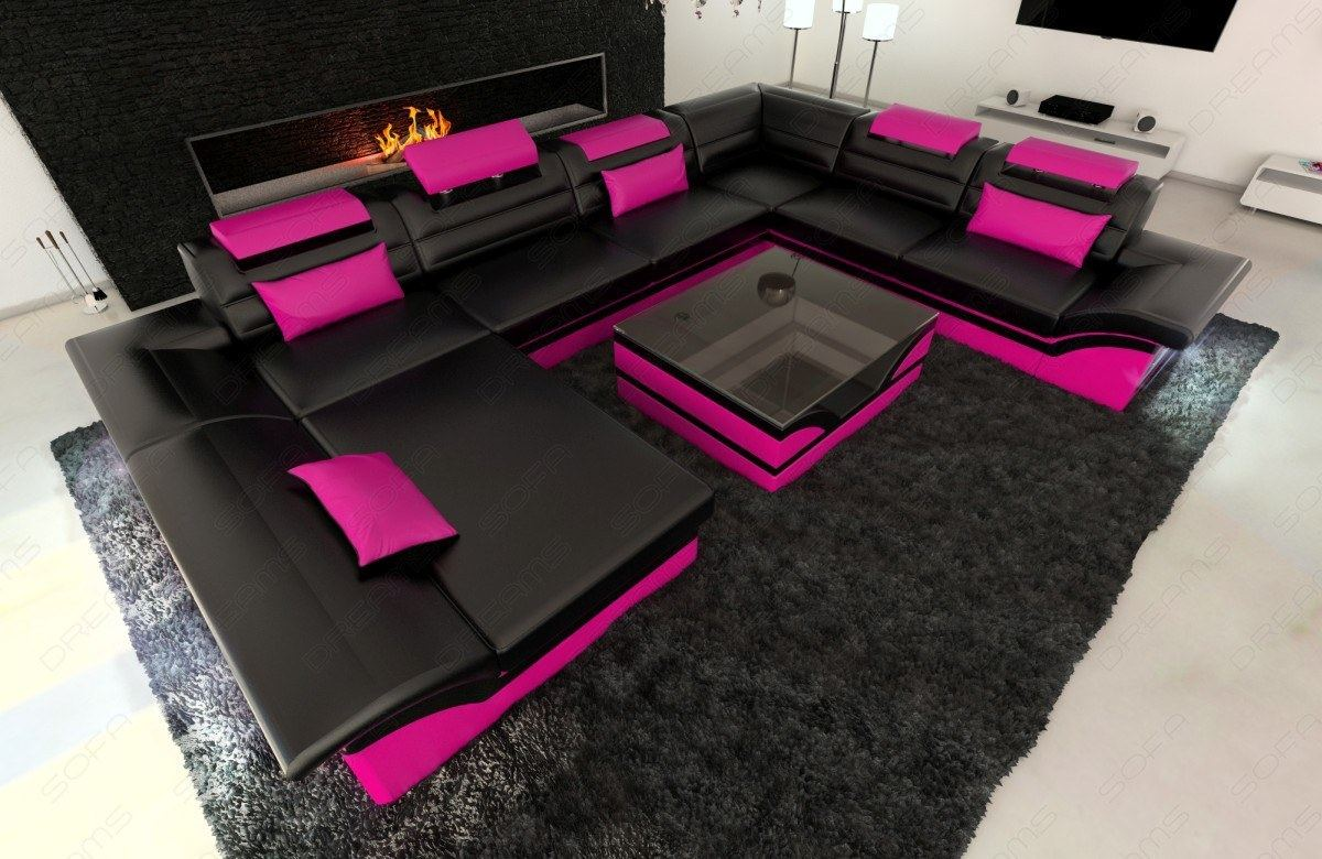 Big Sofa Mit Led Beleuchtung Big Sectional Sofa Enzo Xxl Leather Couch With Led Lights Colour