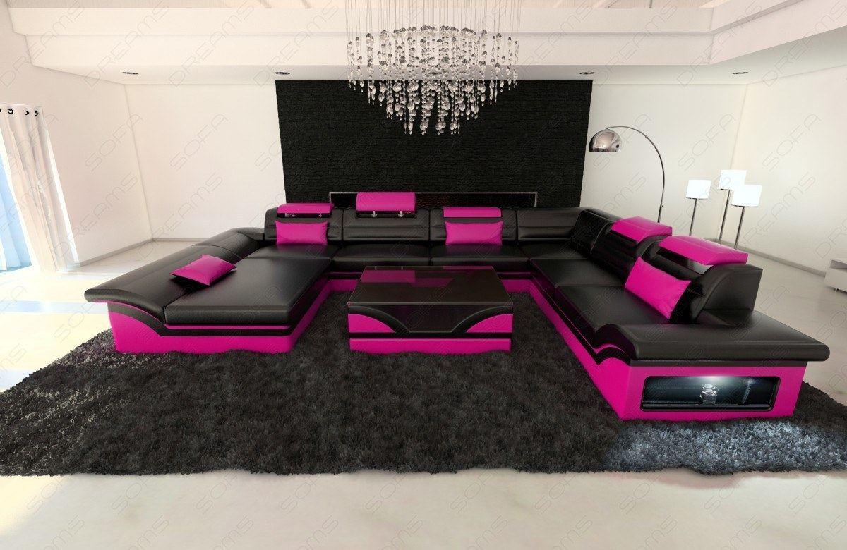 Leather Sectional Sofa Enzo Xxl Black Pink Ebay