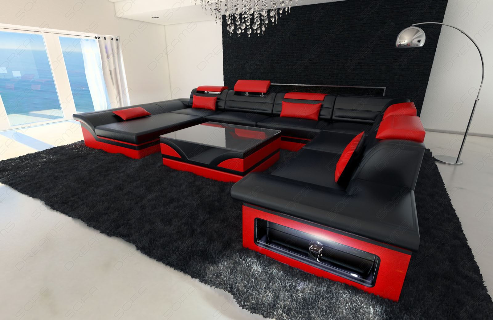 Leather Sectional Sofa Enzo Xxl Black Red Ebay