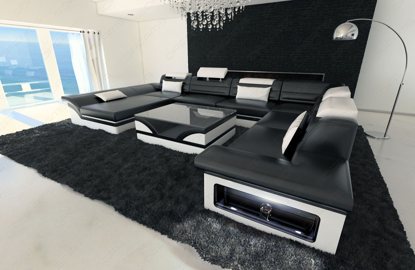 wohnlandschaft leder xl couch ecksofa monza lounge sofa garnitur couchtisch leds ebay. Black Bedroom Furniture Sets. Home Design Ideas