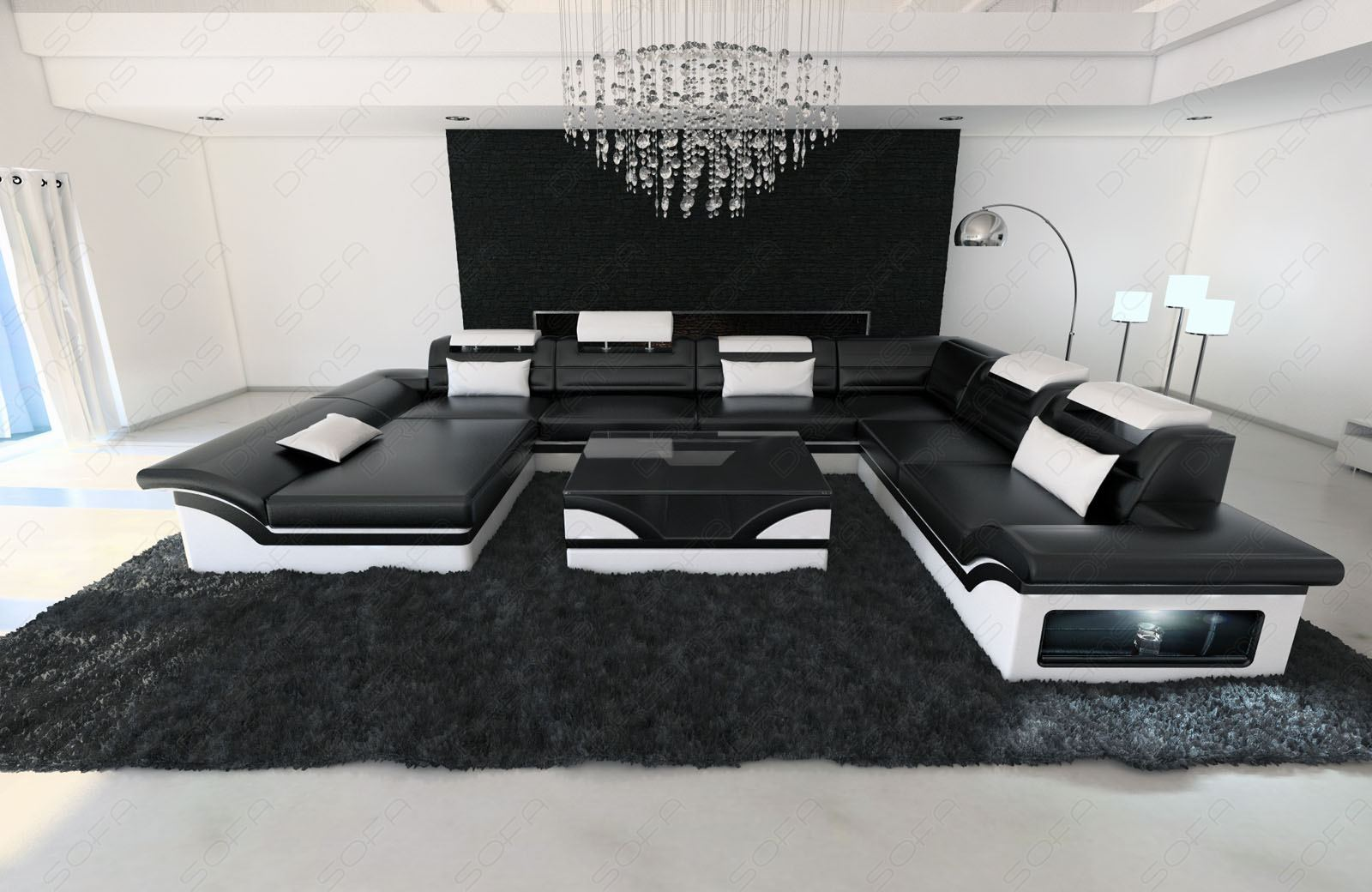 Leather sectional sofa enzo xxl black white ebay for Wohnlandschaft schwarz