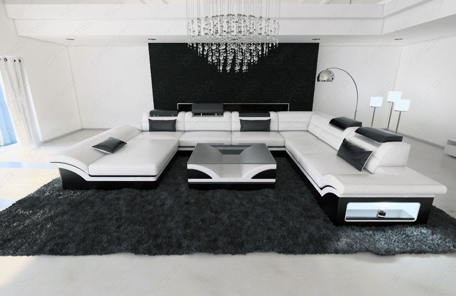 leather sectional sofa enzo xxl white black ebay. Black Bedroom Furniture Sets. Home Design Ideas