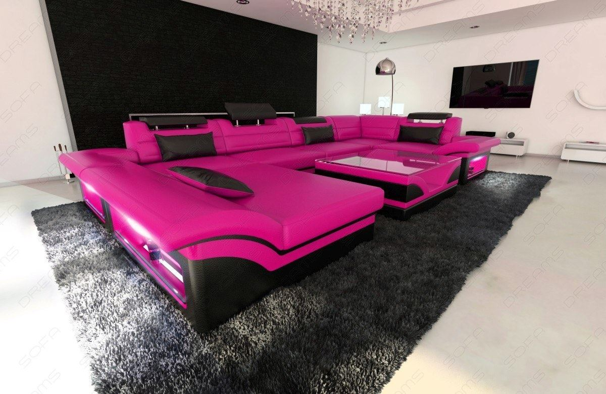 big leather sofa enzo with led lights pink black ebay. Black Bedroom Furniture Sets. Home Design Ideas
