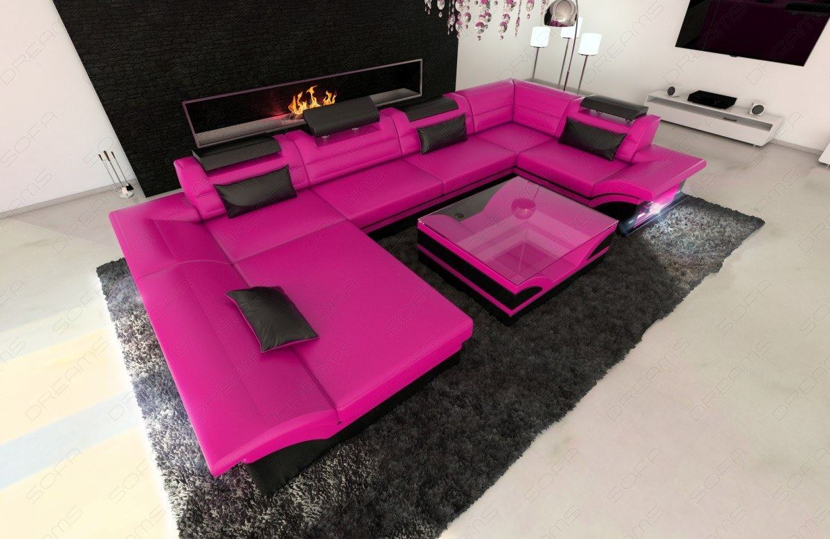 Sofa Beleuchtung : Big Leather Sofa ENZO with LED Lights pink black  eBay