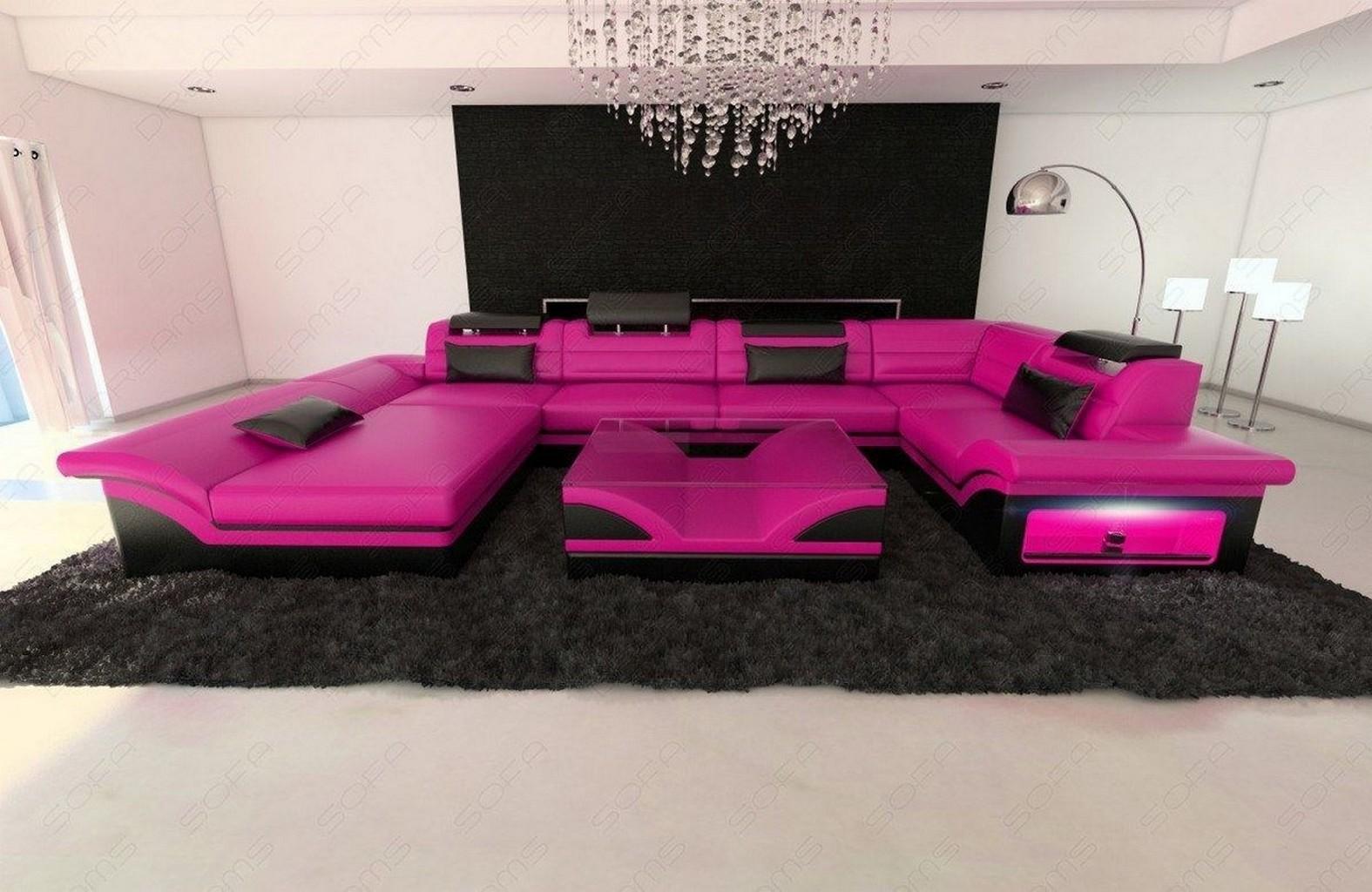 big leather sofa enzo with led lights pink black ebay. Black Bedroom Furniture Sets. Home Design Ideas