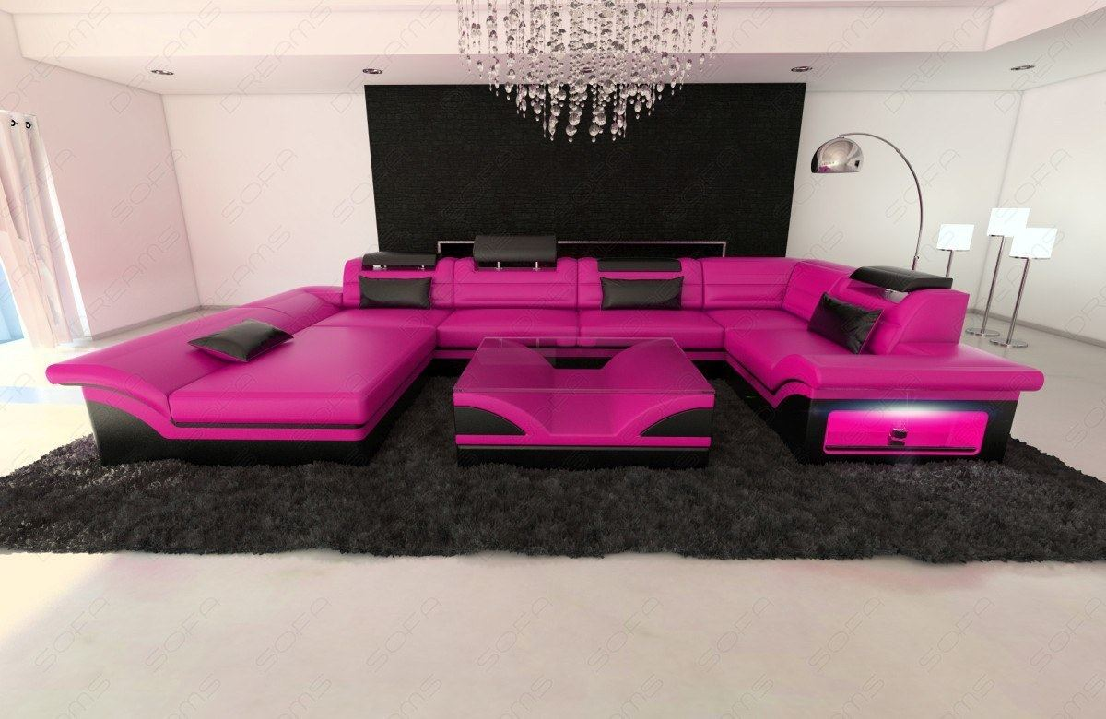 Big Leather Sofa Enzo With Led Lights Pink Black Ebay # Muebles Farbton