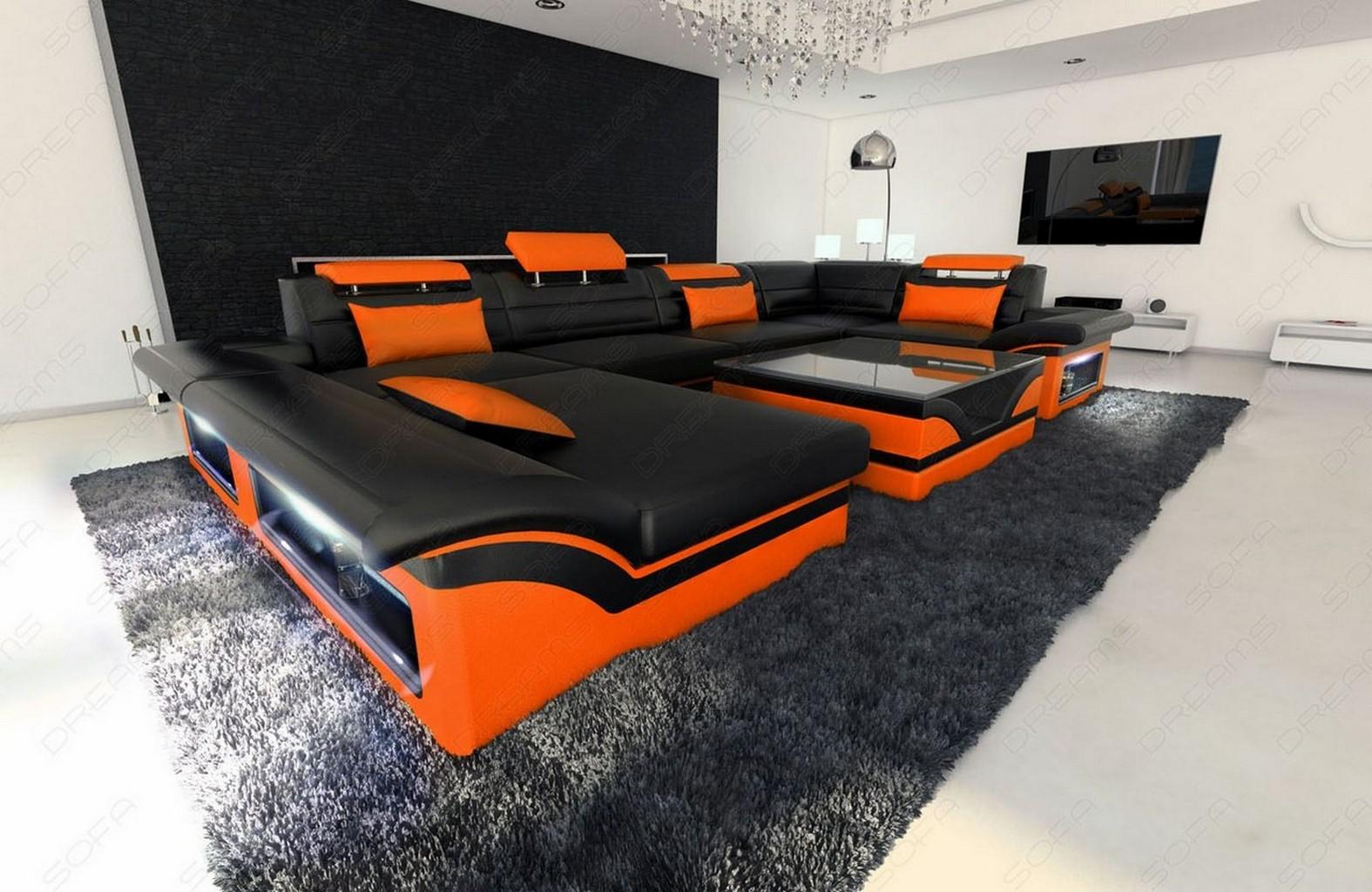 big leather sofa enzo with led lights black orange ebay. Black Bedroom Furniture Sets. Home Design Ideas