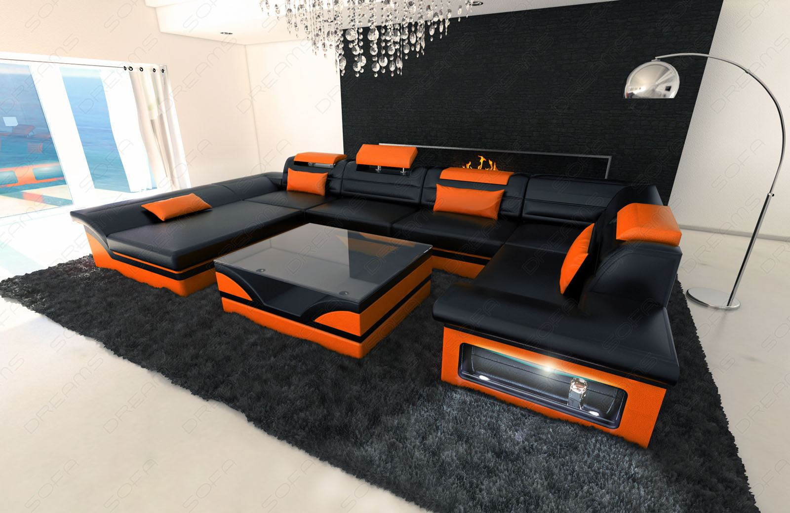 details about big leather sofa enzo with led lights black orange. Black Bedroom Furniture Sets. Home Design Ideas