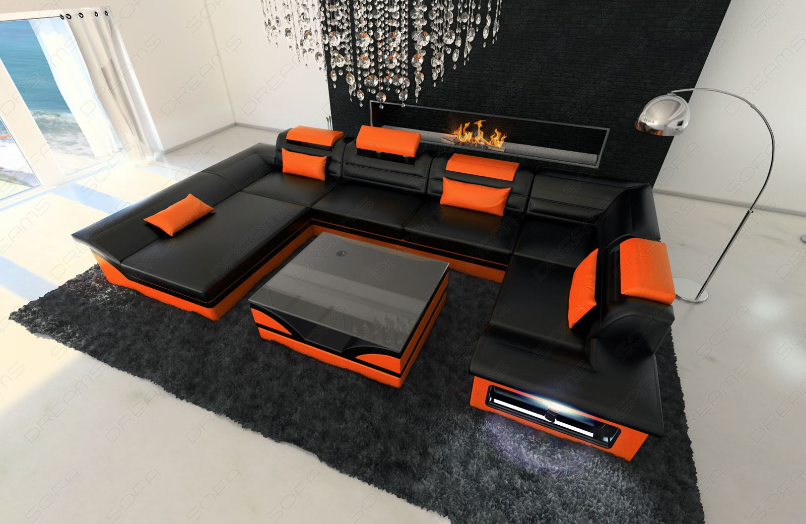 big leather sofa enzo with led lights black orange ebay. Black Bedroom Furniture Sets. Home Design Ideas