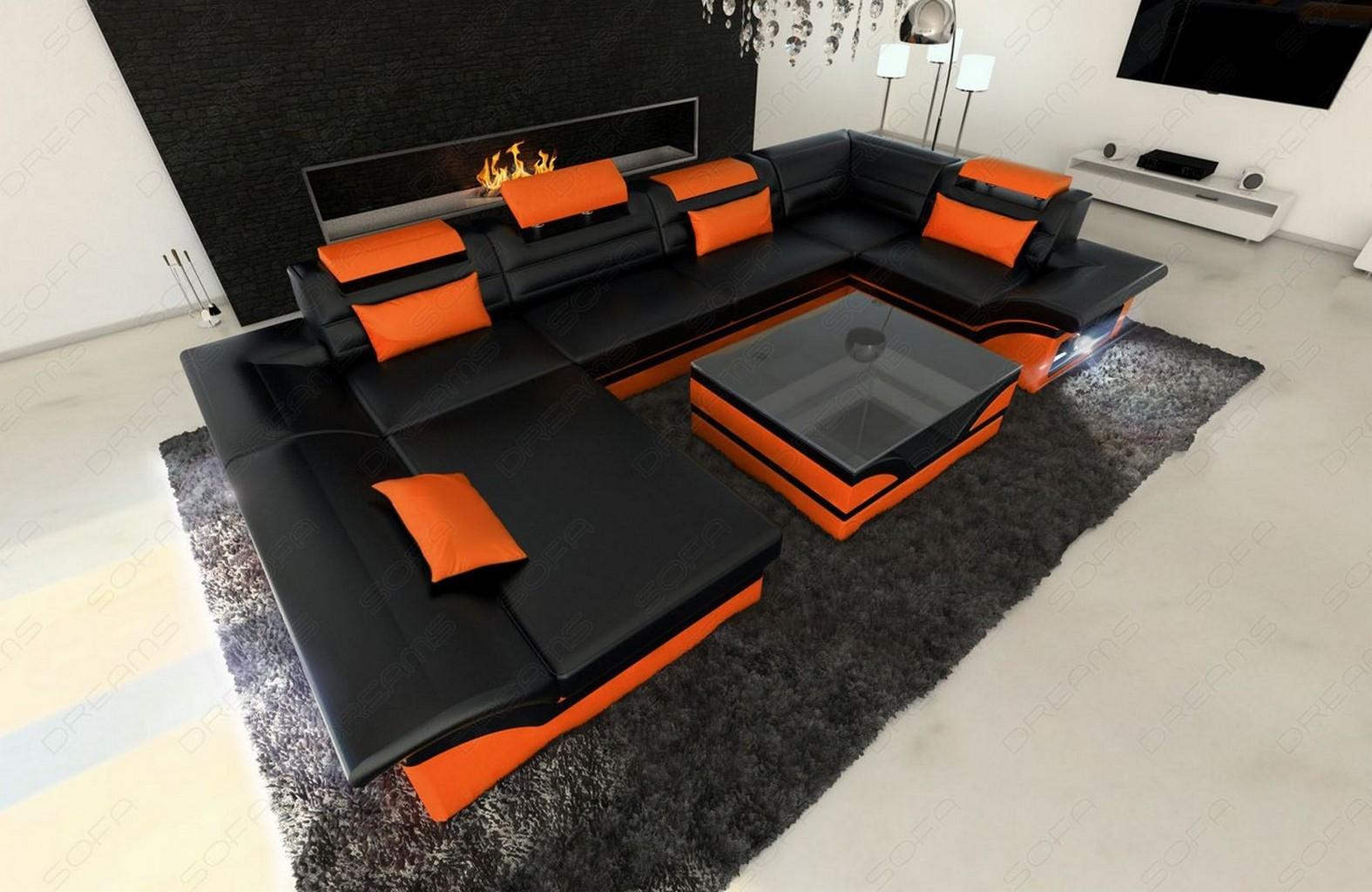 leather sofa enzo couch set with led corner sofa black. Black Bedroom Furniture Sets. Home Design Ideas