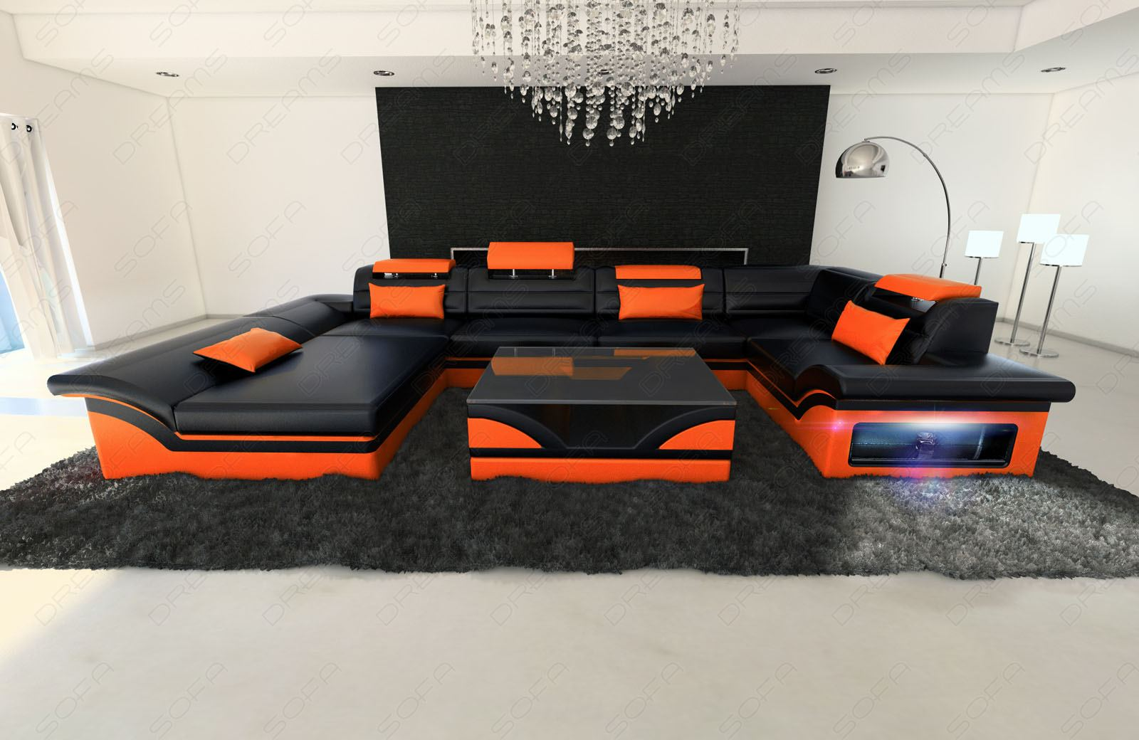 leather sofa couch designer set enzo with led black orange ebay. Black Bedroom Furniture Sets. Home Design Ideas