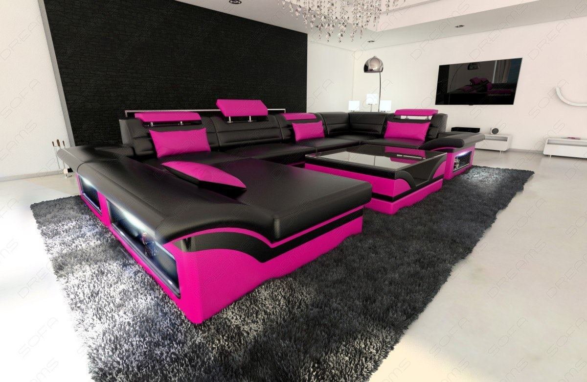 leather sofa enzo u shaped couch set with led lighting rgb ebay. Black Bedroom Furniture Sets. Home Design Ideas