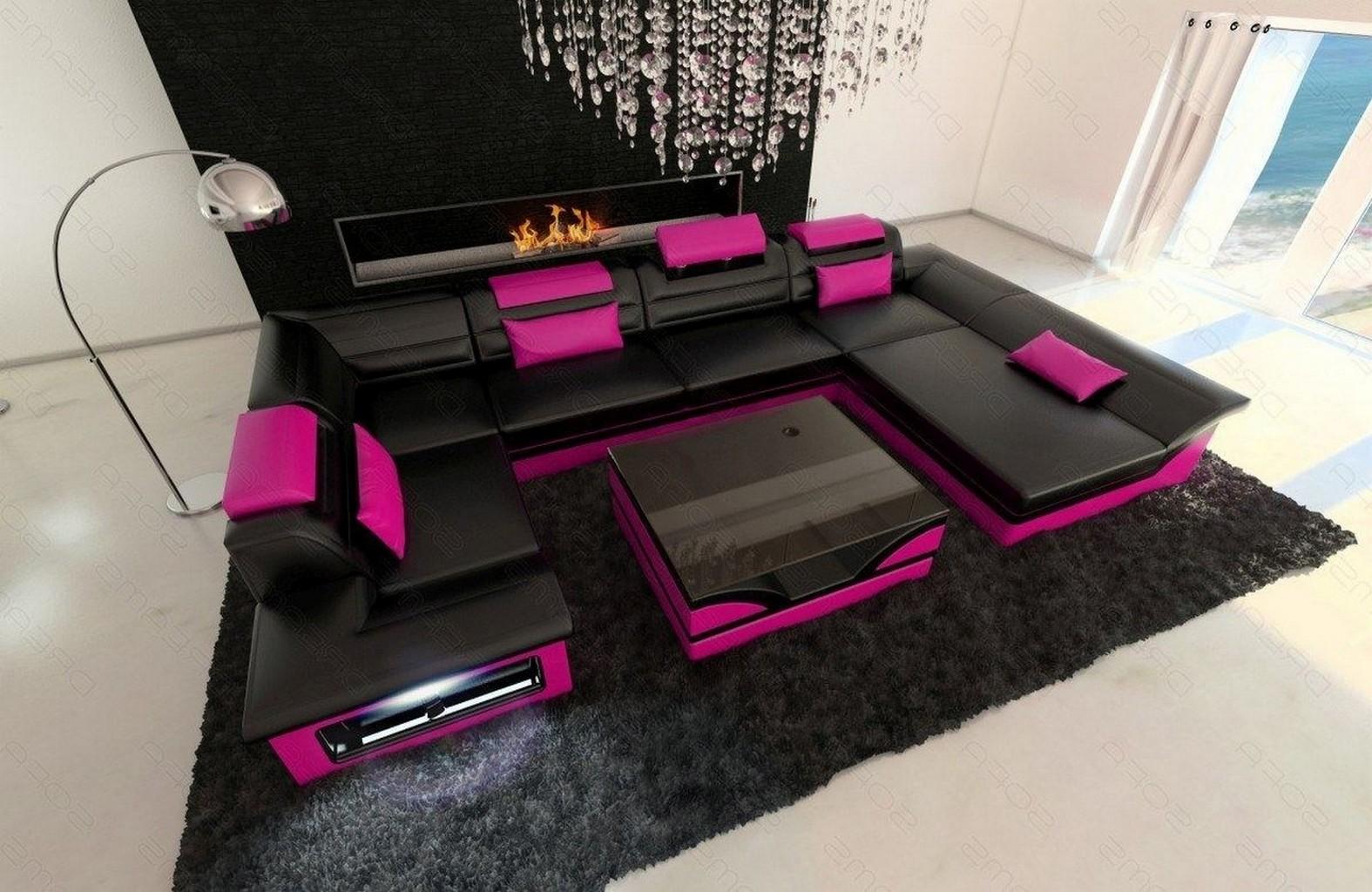 wohnlandschaft ecksofa enzo u form led premium kunstleder schwarz pink lagerware ebay. Black Bedroom Furniture Sets. Home Design Ideas