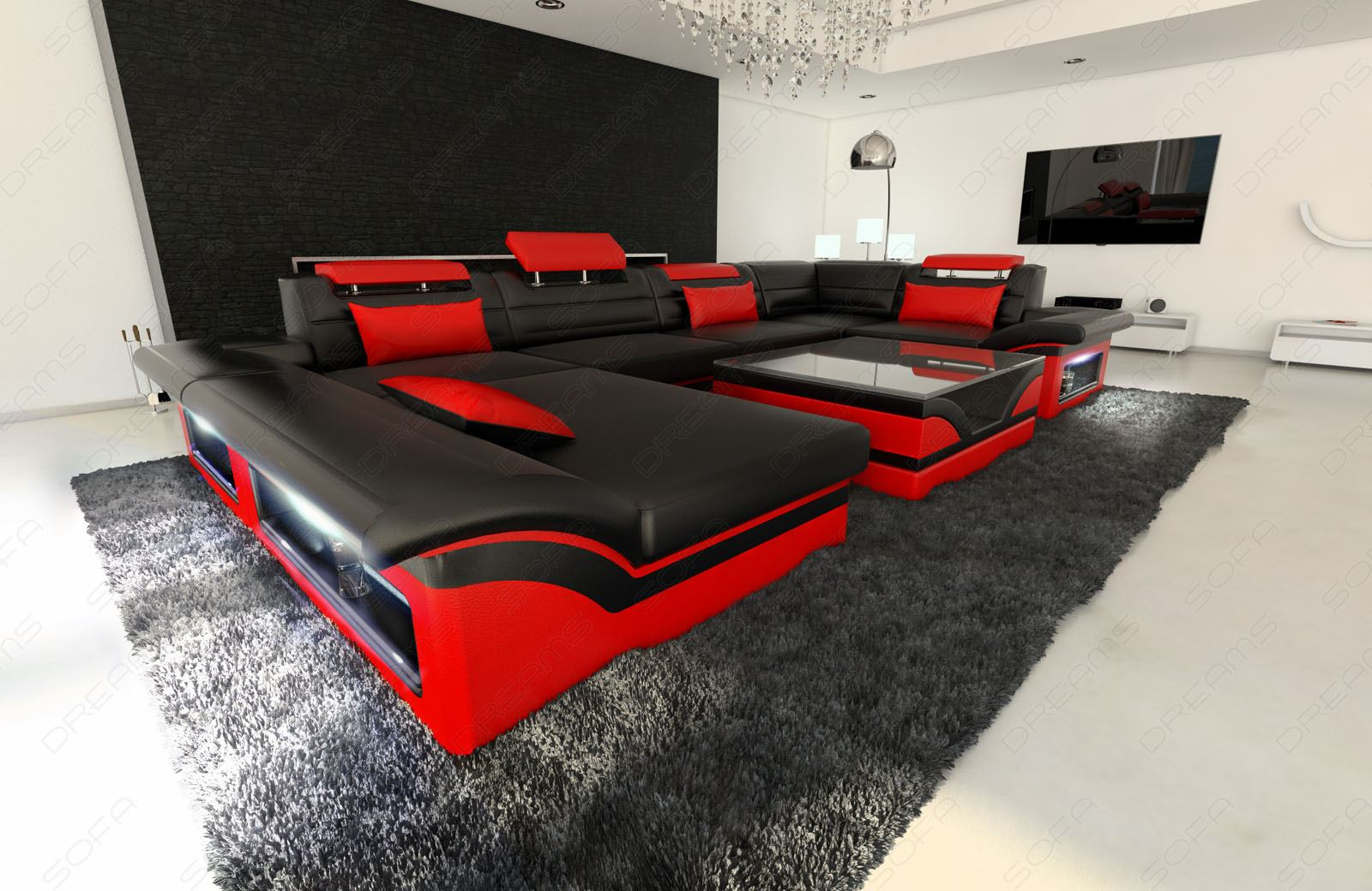 leather sofa enzo u shaped couch set with led light black red ebay. Black Bedroom Furniture Sets. Home Design Ideas