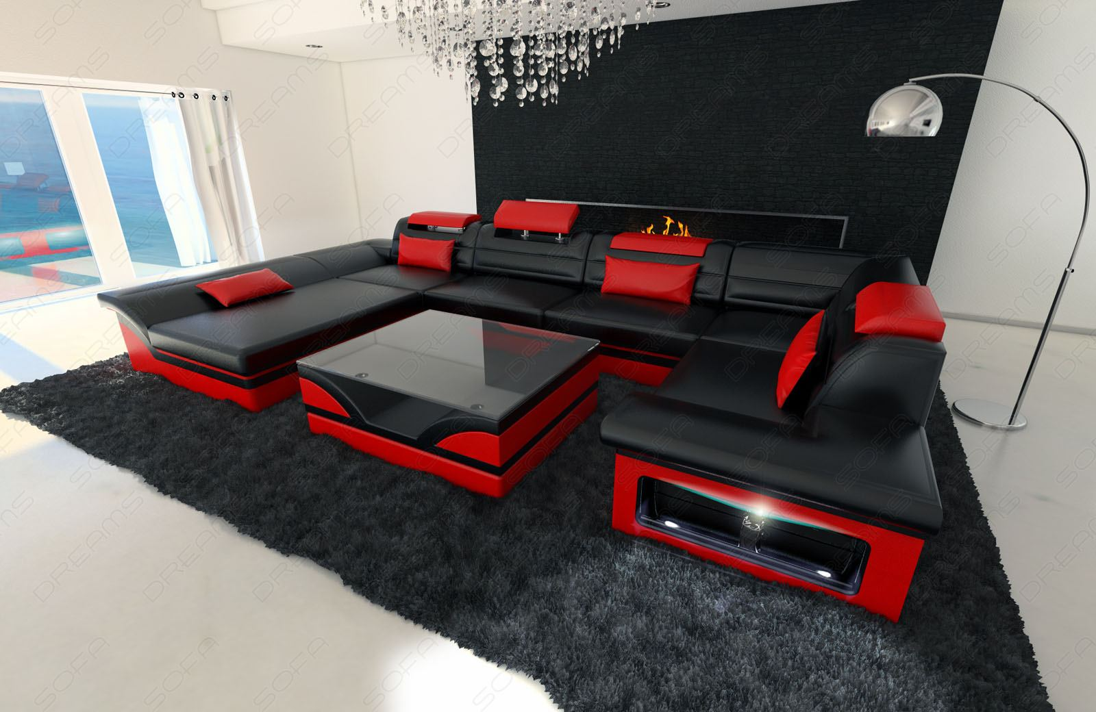leather sofa enzo u shaped couch set with led light black. Black Bedroom Furniture Sets. Home Design Ideas