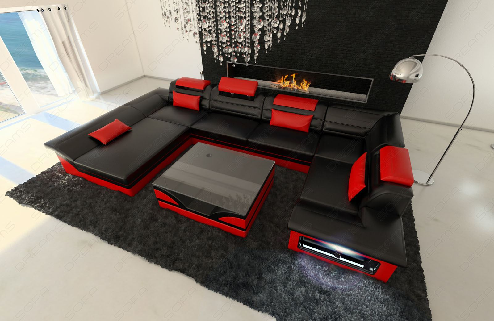 Leather Sofa Corner Big Enzo U Shaped Couch Set With Led Light Black Red Ebay