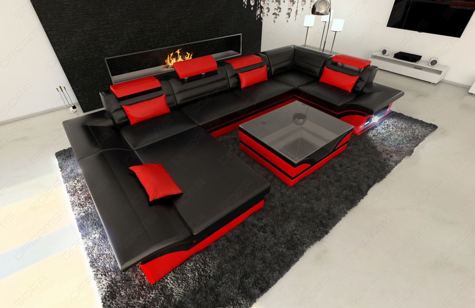 big leather sofa enzo with led lights black red ebay. Black Bedroom Furniture Sets. Home Design Ideas