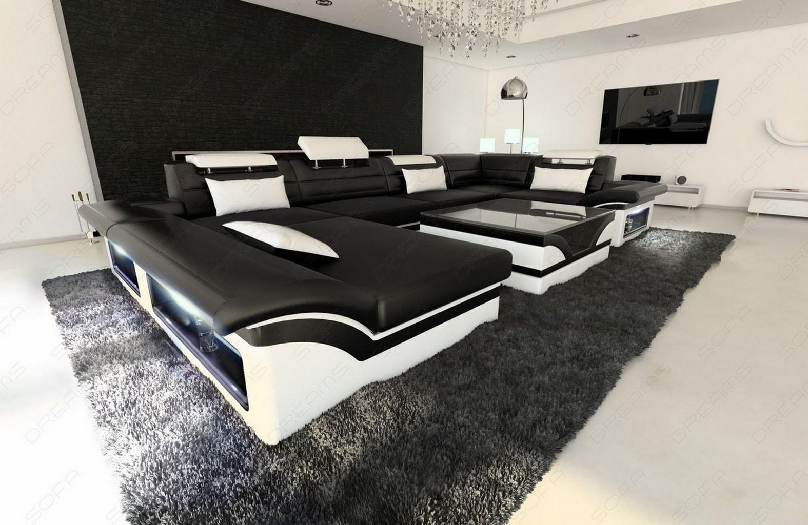 big leather sofa enzo with led lights black white ebay. Black Bedroom Furniture Sets. Home Design Ideas